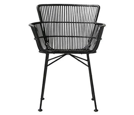 Housedoctor chaise à manger Coon rotin noir 60,5x80x62cm