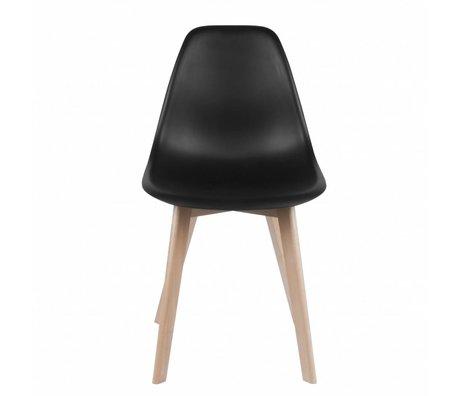 Leitmotiv Dining chair Elementary black plastic wood 80x48x38cm