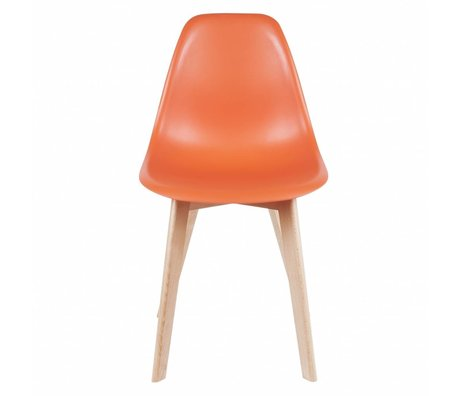 Leitmotiv Esszimmerstuhl elementar orange plastik Holz 80x48x38cm