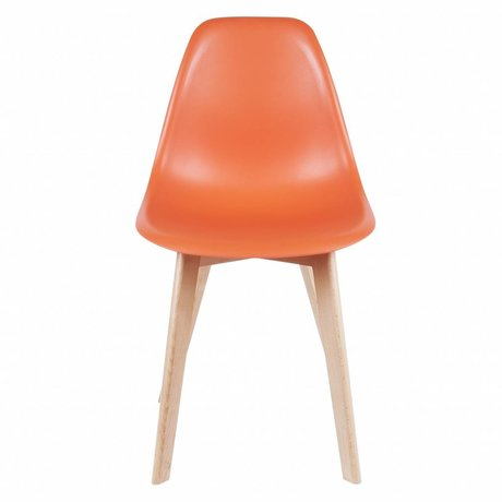 Leitmotiv Dining chair elementary orange plastic wood 80x48x38cm