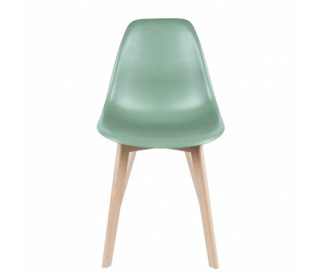 Leitmotiv Dining chair elementary green plastic wood 80x48x38cm
