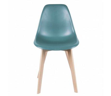 Leitmotiv chaise à manger en bois en plastique bleu élémentaire 80x48x38cm