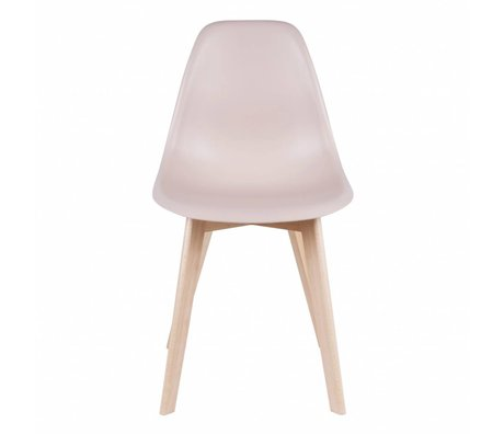 Leitmotiv Dining chair elementary light pink plastic wood 80x48x38cm