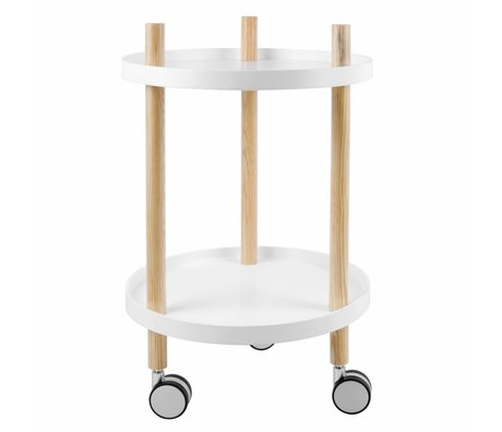 Leitmotiv Kitchen trolley white wood Ø40x63cm
