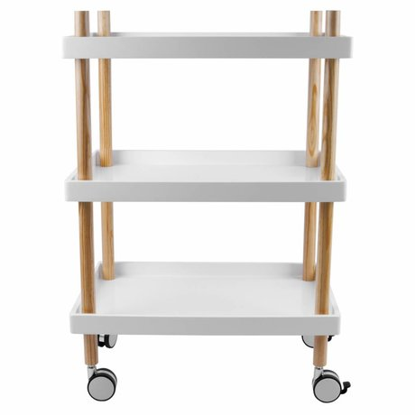 Leitmotiv Kitchen trolley white wood Ø50x56,5cm