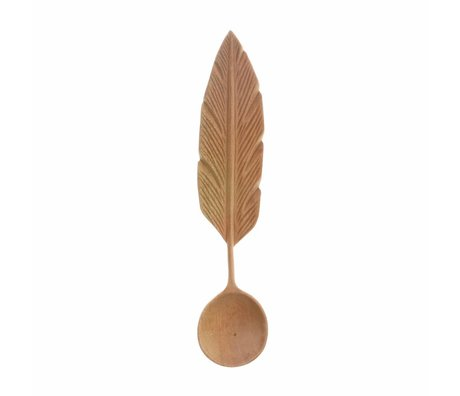 HK-living Hand carved spoon Spring brown wood 19x4x2,5cm