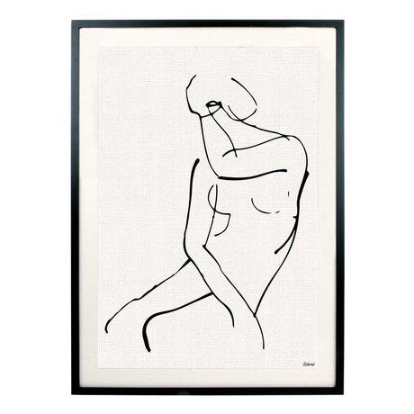 HK-living Kunstlijst Vrouw zwart wit metaal glas 72x51,5x2,5cm