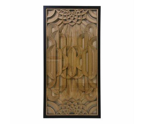 HK-living Kunstlijst Houtsnijwerk bruin hout 120x60x6cm