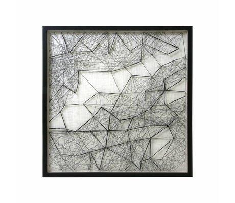 HK-living Kunstlijst Touwwerk zwart wit touw metaal 90x90x6cm