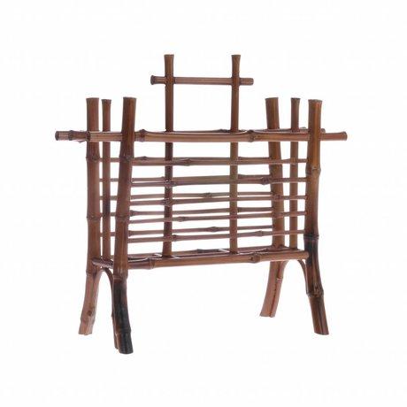 HK-living Brief Halter braun Bambus 27,5x11,5x26cm