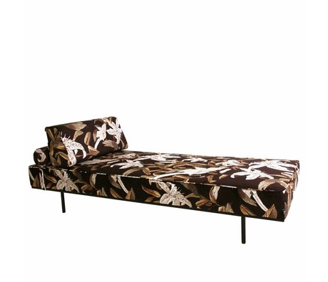 HK-living Bank Daybed Floral multicolour printed velvet 200x80x41cm