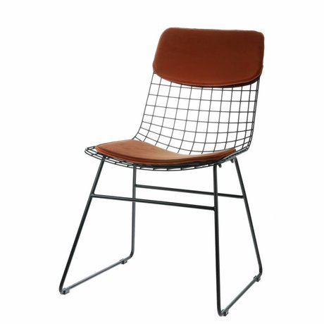 HK-living Comfort kit fluweel terracotta voor metalen draad stoel