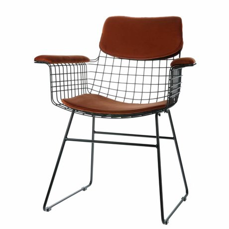 HK-living Comfort kit velvet terracotta for metal wire chair with armrests