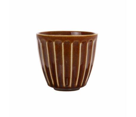 HK-living Becher Kyoto braun gestreifte Keramik 8,5x8,5x8cm
