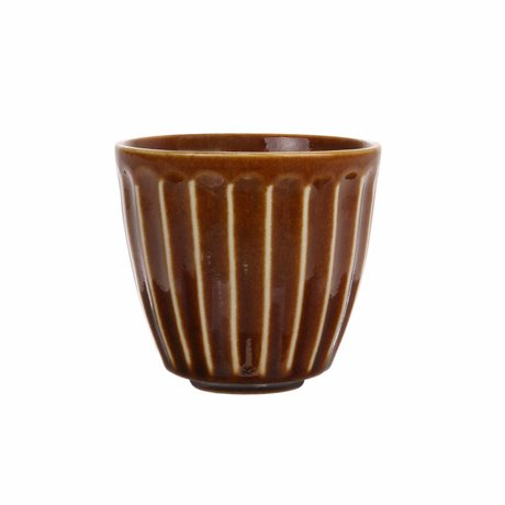 HK-living Mug of Kyoto brown striped ceramics 8,5x8,5x8cm