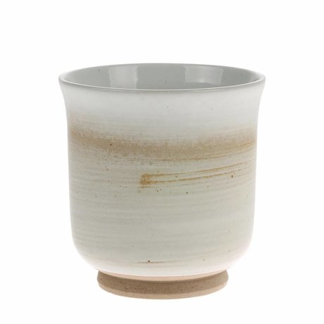 HK-living Mok Kyoto bruin wit keramiek 8x8x8,5cm