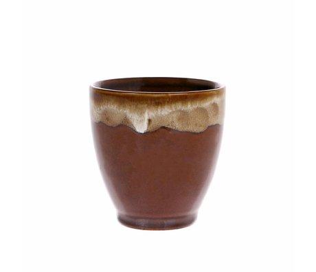 HK-living Kyoto mug with dripping effect Espresso brown striped ceramics 7,5x7,5x7,5cm