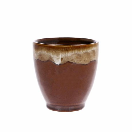 HK-living Kyoto mug with dripping effect Espresso brown striped ceramics 7,5x7,5x7,5cm