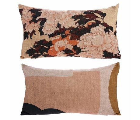 HK-living Cushion Kyoto with print multicolour cotton 35x60cm