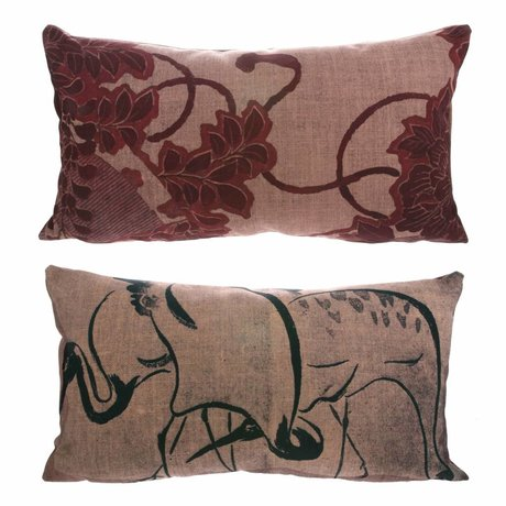 HK-living Cushion Kyoto with print Osaka multicolour 100% recycled PET 35x60cm