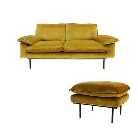 HK-living Bank Trendy Ochre 2-zits geel velvet 175x83x95cm + hocker