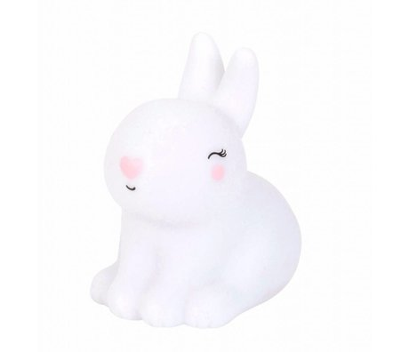 A Little Lovely Company Lampe de table blanc lapin rose 8x13x13cm