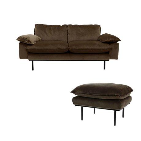 HK-living Bank Natural Haze 2-seat brown velvet 175x83x95cm + hocker