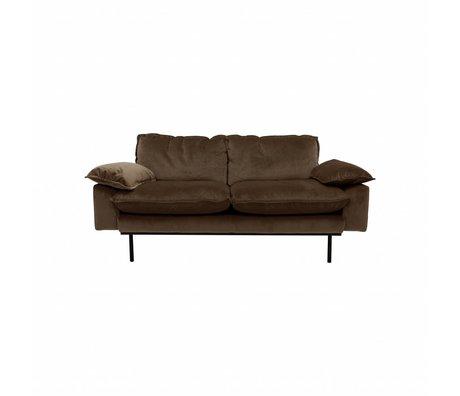 HK-living Bank Natural Haze 2-seat brown velvet 175x83x95cm