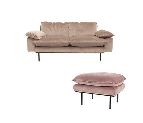 HK-living Bank Daring Nude 2-Sitzer rosa Samt Stuhl 175x83x95cm +