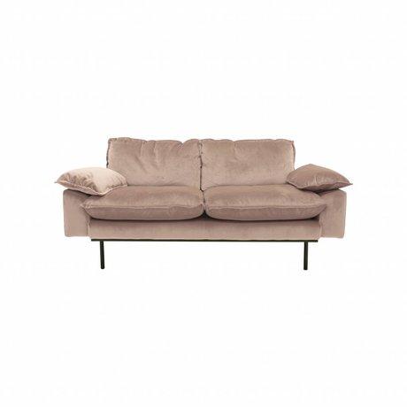 HK-living Bank Daring Nude 2-Sitzer rosa Samt 175x83x95cm