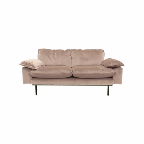HK-living Banque Daring Nude 2 places velours rose 175x83x95cm