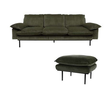 HK-living Bank Hunter green 3-zits groen velvet 225x83x95cm + hocker