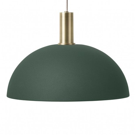 Ferm Living Hanglamp Dome low donker groen brass goud metaal
