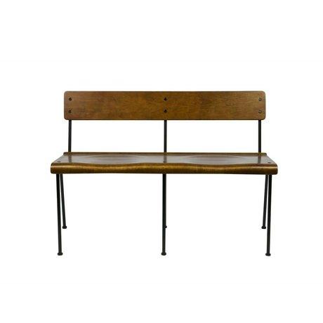 vtwonen Bank Teach bruin hout metaal 111x54,5x75cm