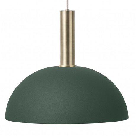 Ferm Living Hanglamp Dome high donker groen brass goud metaal