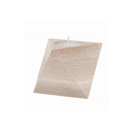 Ferm Living Waxinelichthouder Cube naturel hout 8,5x7,5cm
