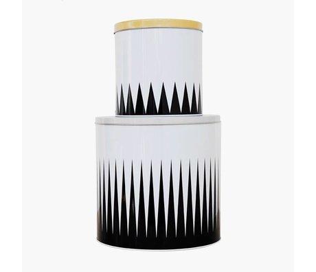 Ferm Living Opbergblik Spire wit zwart staal set van twee