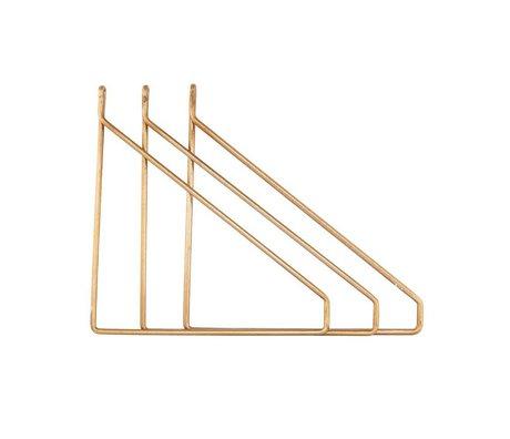 Housedoctor Wandhaken set van 3 brass goud metaal 25,5x26cm