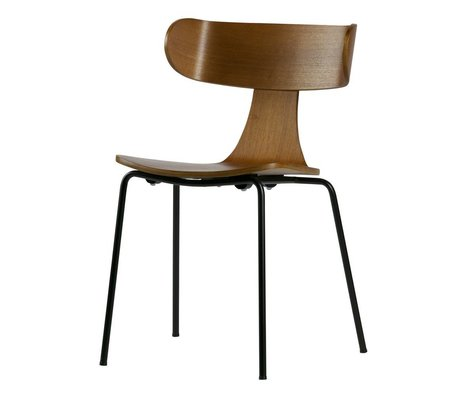 LEF collections Dining chair Form brown wood with metal leg 77.5x50x52cm