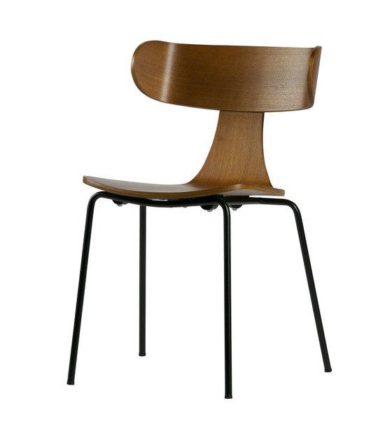 Lef collections eetkamerstoel form bruin hout met metalen for Eetkamerstoel hout met leer