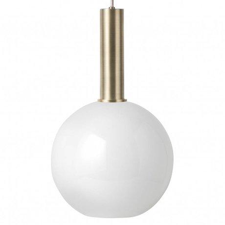 Hanglamp Opal Sphere wit brass goud metaal glas