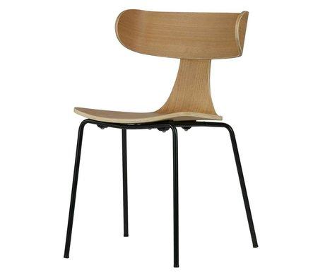 LEF collections Eetkamerstoel Form naturel bruin hout met metalen poot 77,5x50x52cm