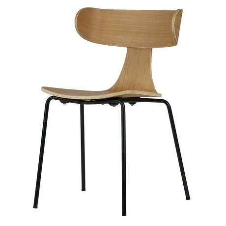 LEF collections Dining chair Form natural brown wood with metal leg 77.5x50x52cm