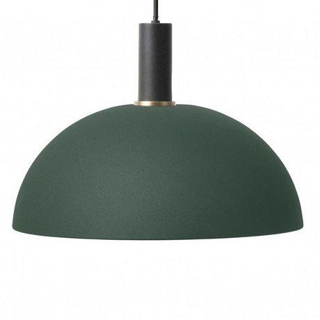 Ferm Living Hanglamp Dome low donker groen zwart metaal
