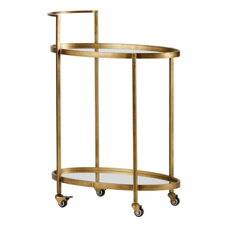 BePureHome Trolley Push antiek brass goud metaal 86x67x35cm