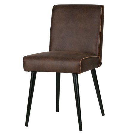 BePureHome Dining chair Revolution chocolate brown leather 84x44x52cm