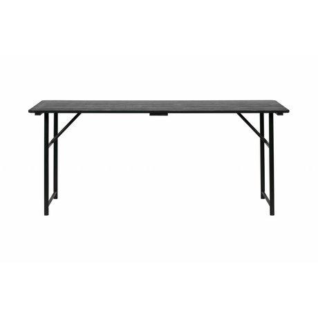 vtwonen Eettafel Army zwart hout metaal 75,1x180x80cm