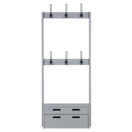 vtwonen Coat rack with bench Hooked gray wood S 180x77,6x35cm
