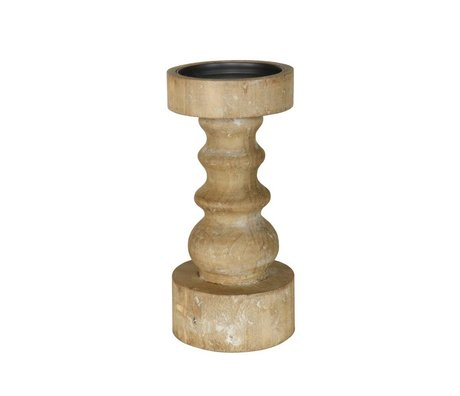 BePureHome Candlestick Shapes brown wood M 25,5xØ12cm