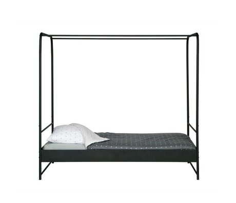 Canopy bed Bunk black metal 190x206x125cm